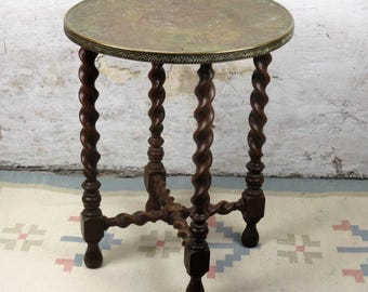 Round Barley Twist Wood Side Occasional Wine Table Pedestal Plant Stand