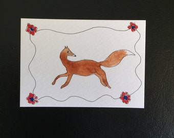 Contemporary Folk art Fox ORIGINAL Miniature Watercolour ACEO Watercolor painting Fox Flowers For him For her Home Decor Wall Art Gift Idea