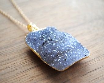 """Raw Druzy Necklace - Gold Edge on 30"""" 14k Delicate Gold Filled Chain, Grey White Drusy Necklace, Long Druzy Necklace"""