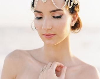 Gold Bridal Hair Piece. Bridal Headpiece. Boho Bridal Headband {Sienna} by RomanticARTlife