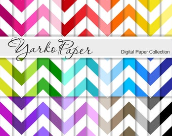 Digital Paper Pack, Big Chevron Scrapbook Paper, Digital Background, 42 Sheets, Rainbow Paper, Personal & Commercial Use - Instant Download