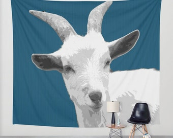 Goat Blue, Wall Tapestry,White,Animal Decor,Kids Decor,Modern Wall Art,Home Decor,Home Accessories,Bedroom Art,Unique Design,Interior Design
