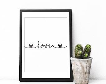 Love Print, Love Printable, Love Wall Art, Love Wall Decor, Love Art Print, Love Poster, Printable Love Quote, Love Typography