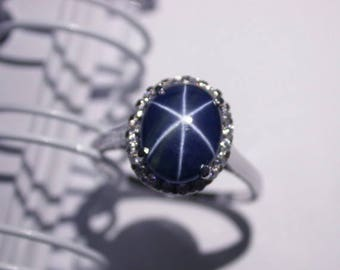 4.35 ct Natural blue star sapphire size us 7.0 ring wedding