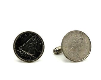 """Authentic """"Canada"""" 10 cents coin cuff links. TMPL_SKU004764"""