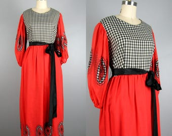Vintage 1960s 1970s Bohemian Dress 60s 70s Red and Black Applique Midi Dress with Poet Sleeves by Size Fran & Chiz 10/12/L