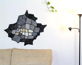 Black & White Yarn Modern Fiber Art Ombre Patch Asymmetrical Tapestry Tissage Mural Wall Hanging Handmade Interior Home Decor Crochet Knit