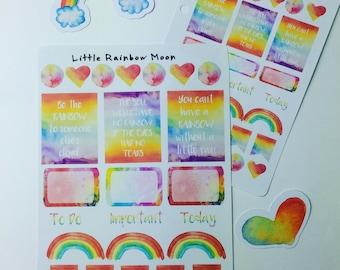 Rainbow planner stickers