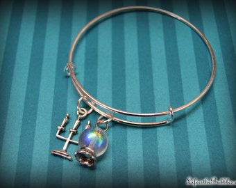Haunted Mansion Bangle Bracelet, Crystal Ball, Candelabra Charm, Disney Inspired, by Life is the Bubbles