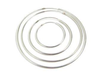 """Silver Hoops - Silver Hoop Earrings - Silver Gypsy Hoops - Large Medium Small Hoops - 60mm 50mm 35mm 25mm 2.4"""" 2"""" 1.5"""" 1"""""""