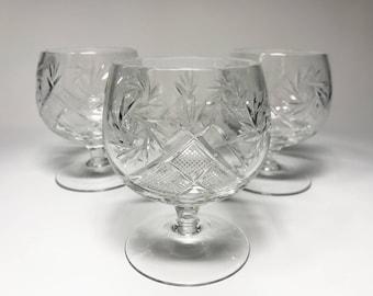 Crystal Glass Set of 6 Cognac Brandy Vodka  Whiskey 10 oz Snifter Glass Hand Cut  Neman Vintage European Design Crystal Glass