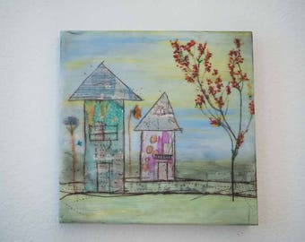 """Encaustic Painting.  """"Dreamer"""", Sweet Home collection, Mixed Media, 10x10"""
