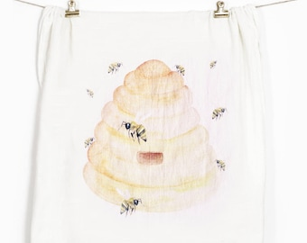 Bee Tea Towel, Flour Sack Towel, Tea Towel, Flour Sack Kitchen Towels, Flour Sack Dish Towels, Farmhouse Kitchen