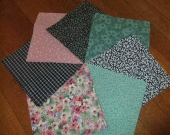 "6"" by 6"" Cotton Quilting Squares, Pink, Light Green, and Black Prints"