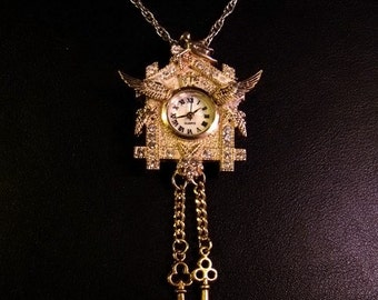 Flying Cuckoo Clock Necklace - FREE SHIPPING