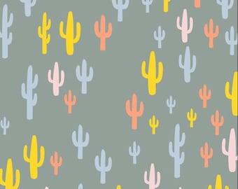 Cactus Fabric, Morning Walk, Woodland Fabric, Art Gallery Fabrics, Cacti Field Festival, by Leah Duncan,Nursery fabric, MWK-1112