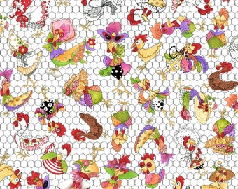 Coopers White Color  ~ Chicken Chique Collection By Loralie Designs Fabric