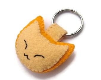 Katze Filz Schlüsselanhänger, Ingwer Kätzchen Schlüsselanhänger, Plüsch gelb Kitty, bestickte Schlüsselanhänger