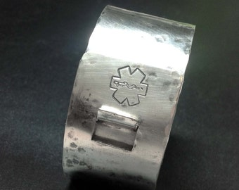 Medical Alert Sterling Latch Cuff by donnaodesigns