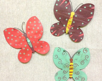 Butterfly Magnets Recycled Metal - Pastel