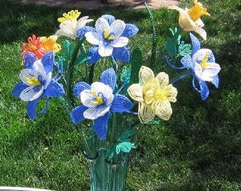 Colorado Columbines - French Beaded Flowers