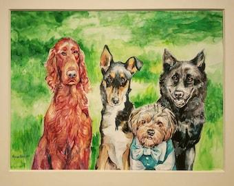 CUSTOM PET PORTRAIT - Jumbo Menagerie in watercolors