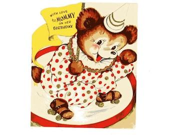 Vintage Original unused Greeting card Birthday Mom -Love and Kisses Too!