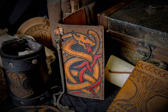 Viking Leather Wallet  - Dragon / Wyrm - Tall Leather Biker Wallet with Chain