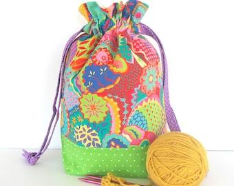 Drawstring knitting bag, Crochet project bag Gift for Knitters, Knitting project bag , Baby shower gift bag Hot Summer colors