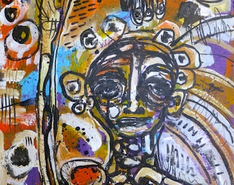 """Outsider Expressionist Abstract Original Woman Painting Wall Art Person by Julie Steiner…""""In NEED of a PICK Me UP"""""""