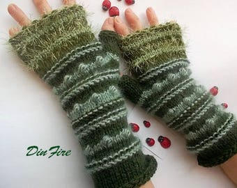 Women L 20% OFF Ready To Ship Fingerless Mittens Gloves Hand Knitted Cabled Mohair Striped Warm Accessories Wrist Warmers Winter Arm 883