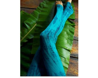 Aqua Bombs Yoga Leggings / Tie Dye Yoga/ Leggings/ Big waistband leggings