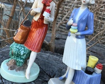 Tupperware Figurines, Sales Ladies, Set of Two, Vintage, Décor, Gift, Collectible