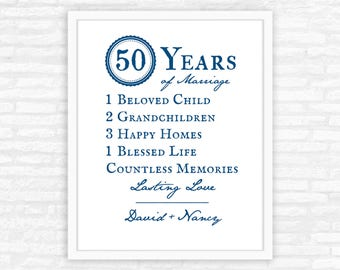 50th Anniversary Decoration, Parents Anniversary Gift, Personalized Gift Print