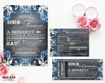 Denim and Diamonds Event Invitation and RSVP, Printable Party Invitation, Corporate Party Invite, Chalkboard and Denim with Lace