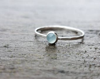 Aquamarine Stacking Ring in Sterling Silver March Birthstone Ring Mothers Ring