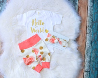 hello world newborn outfit, hello world outfit, hello world girl outfit, hello world take home outfit, girl take home outfit, baby girl