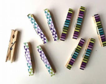 Geometric Print Pegs - Stationery Pegs - Modern Print Clothespin - Decorated Clothespins