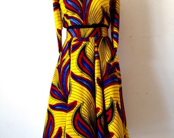 Crop Top and Midi length African Print Skirt.