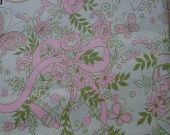 Vintage Gift Wrap 1970s Wedding Wrapping Paper- Pastel Pink & Ivory Butterflies and Bells-2 Sheets NIP