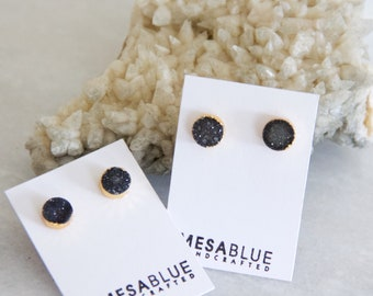 Druzy Earrings, Black Druzy, Gold Stud Earrings