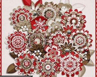 On Sale 50% Off Naughty or Nice Christmas Digital Scrapbooking Kit Layered Flowers, Elements,Embellishements