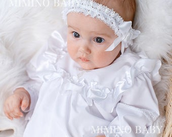 BAPTISMAL gown(girls), christening gown, baptism favors, white lace gown, girl lace gown, heirloom gown, baptism gift, christening dress