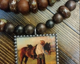 Western Ranch Necklace 'Sharing An Apple'