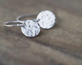 Sterling Silver Earrings Handmade Jewelry, Minimalist Earrings Hammered Dangle Disc Earrings, Gift for Women, Handmade by Burnish,