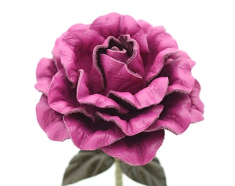Violet leather camellia leather rose third Anniversary wedding gift Long Stem leather flower Valentine's Day 3rd Leather Anniversary Gift