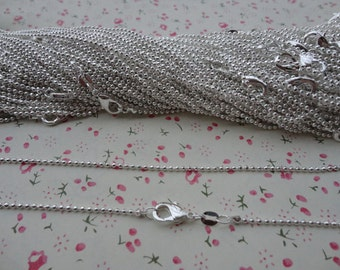 20pcs 1.5mm 18 inch silver ball chain necklace chain with lobster clasp