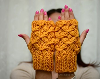Yellow Fingerless Gloves, Mustard Yellow Hand Knit Gloves, Cable Arm Warmers, Christmas Gift, Stocking Stuffers, Under 25