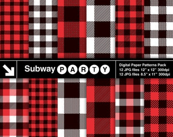 Lumberjack Flannel, Buffalo Check Plaid Red, Black and White Gingham, Tartan. Scrapbook Digital Papers 8.5x11 / 12x12 jpg INSTANT DOWNLOAD