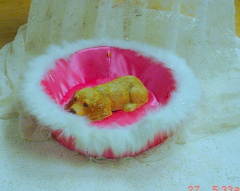 Princess Dog Bed Pink Satin Boa Tiny Dog